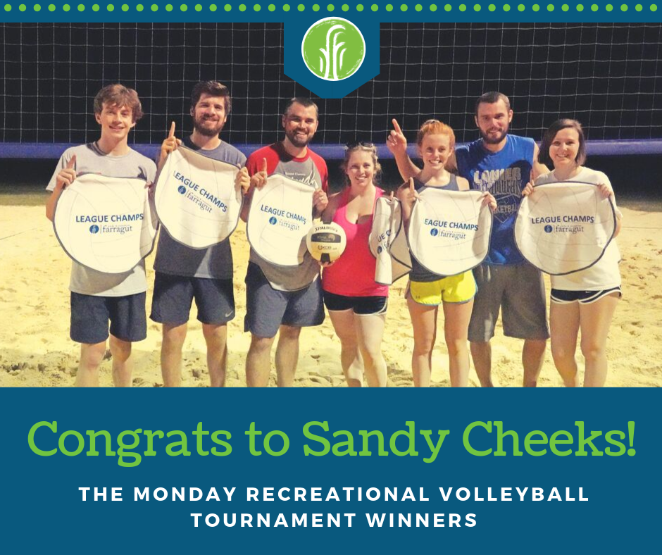 Congratulatory photo of the Monday Recreational 2019 Volleyball Champions