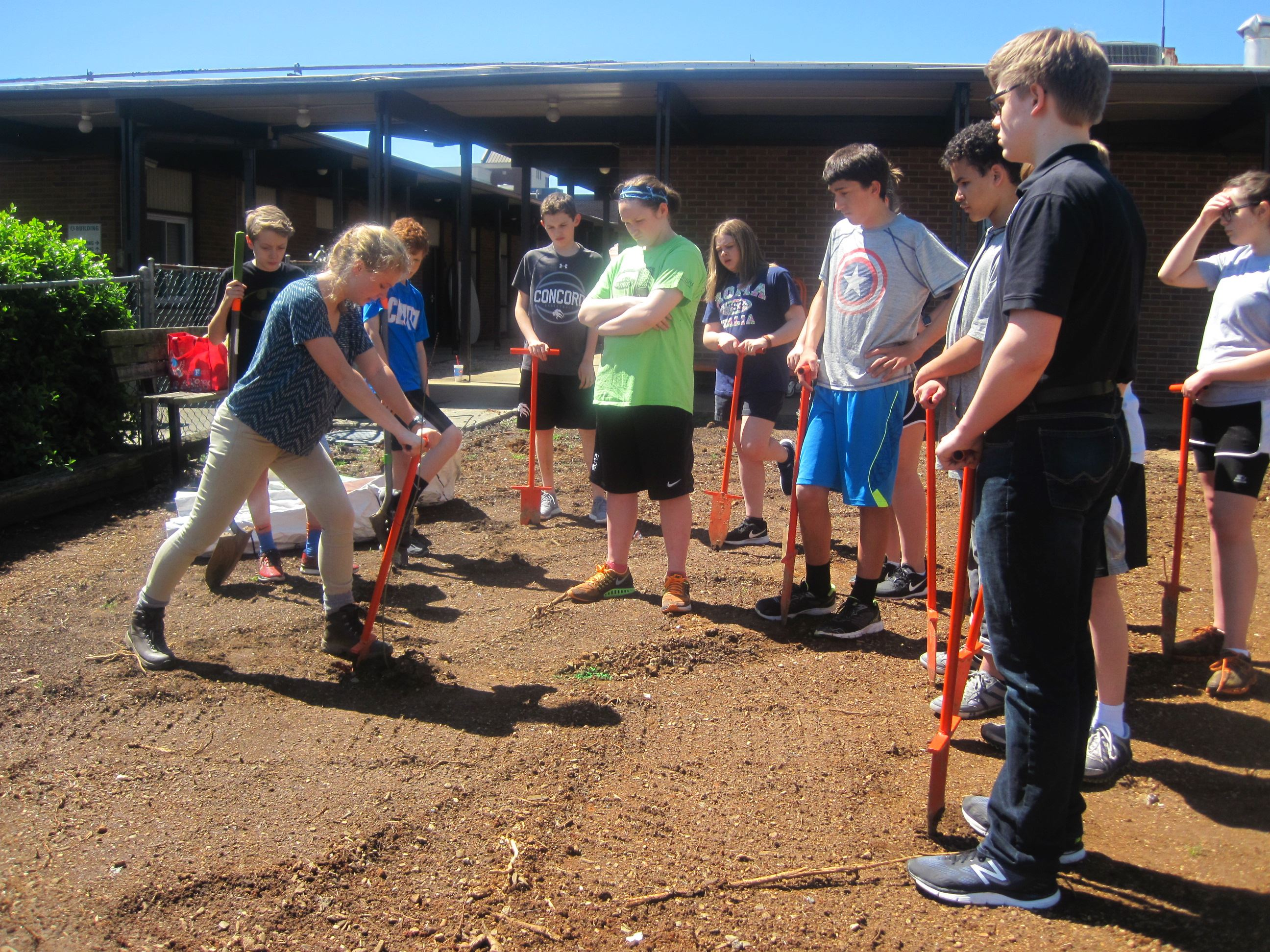 AmeriCorps member showing a group of students how to use a dibble bar to plant bare root tree seedli