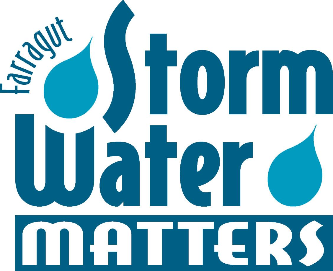 blue logo with the words farragut stormwater matters with a couple raindrops