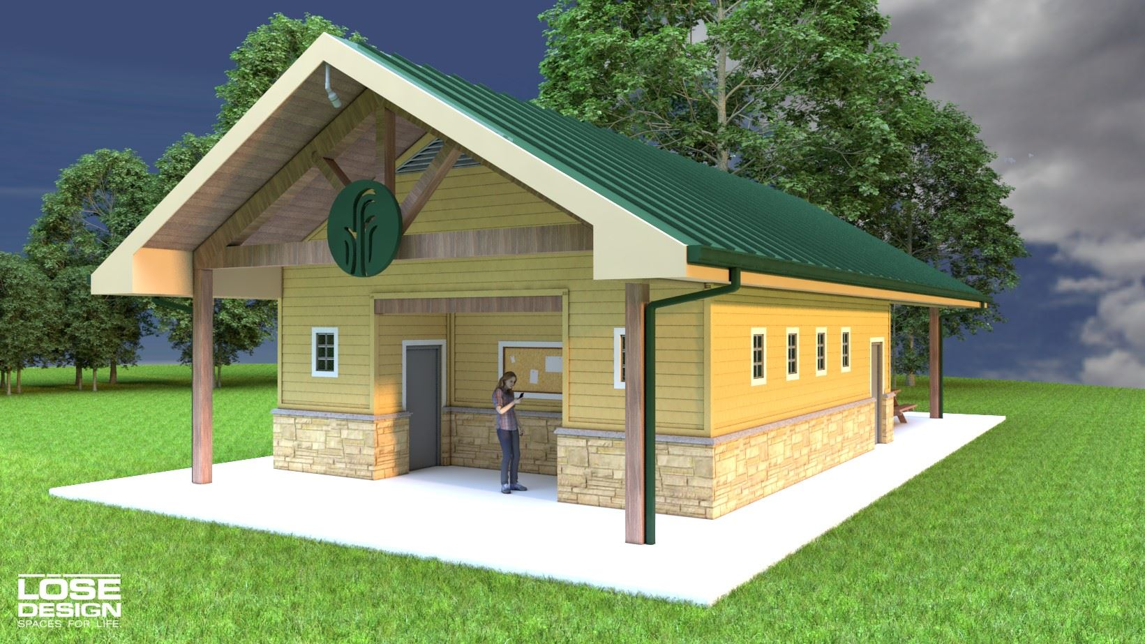 Architectural rendering of front of new restroom at Anchor Park