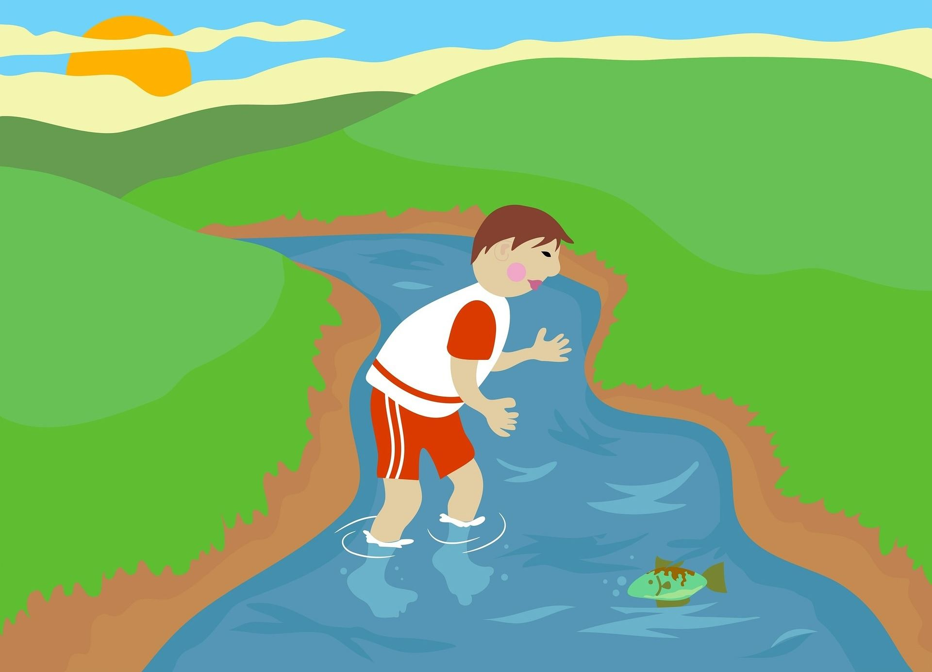 cartoon drawing of a boy playing in a stream