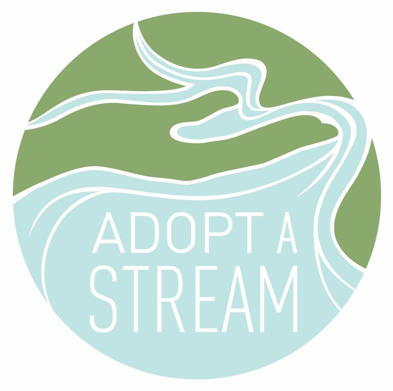 adopt a stream logo round with a blue river and green hand palm up