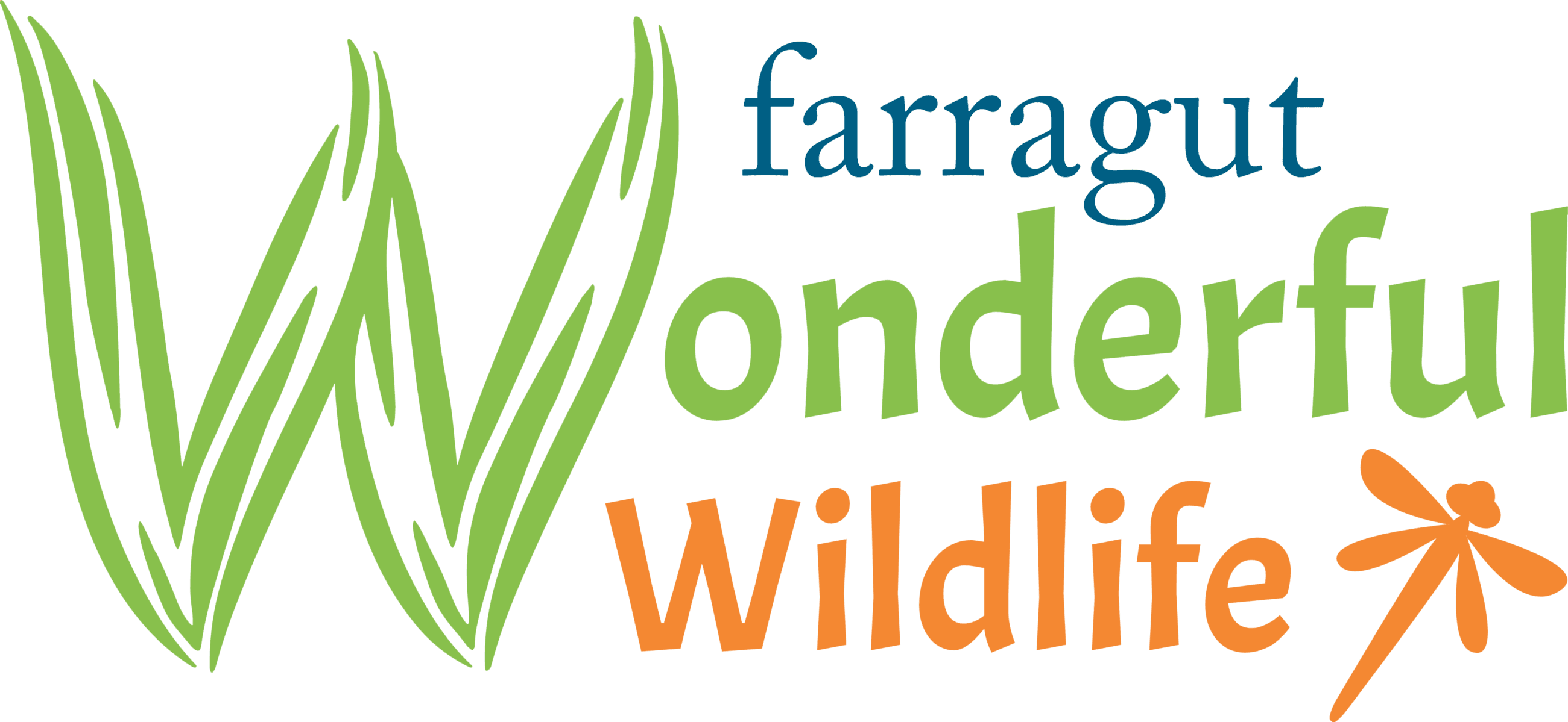 logo for Farragut Wonderful Wildlife in blue green and orange with a dragonfly