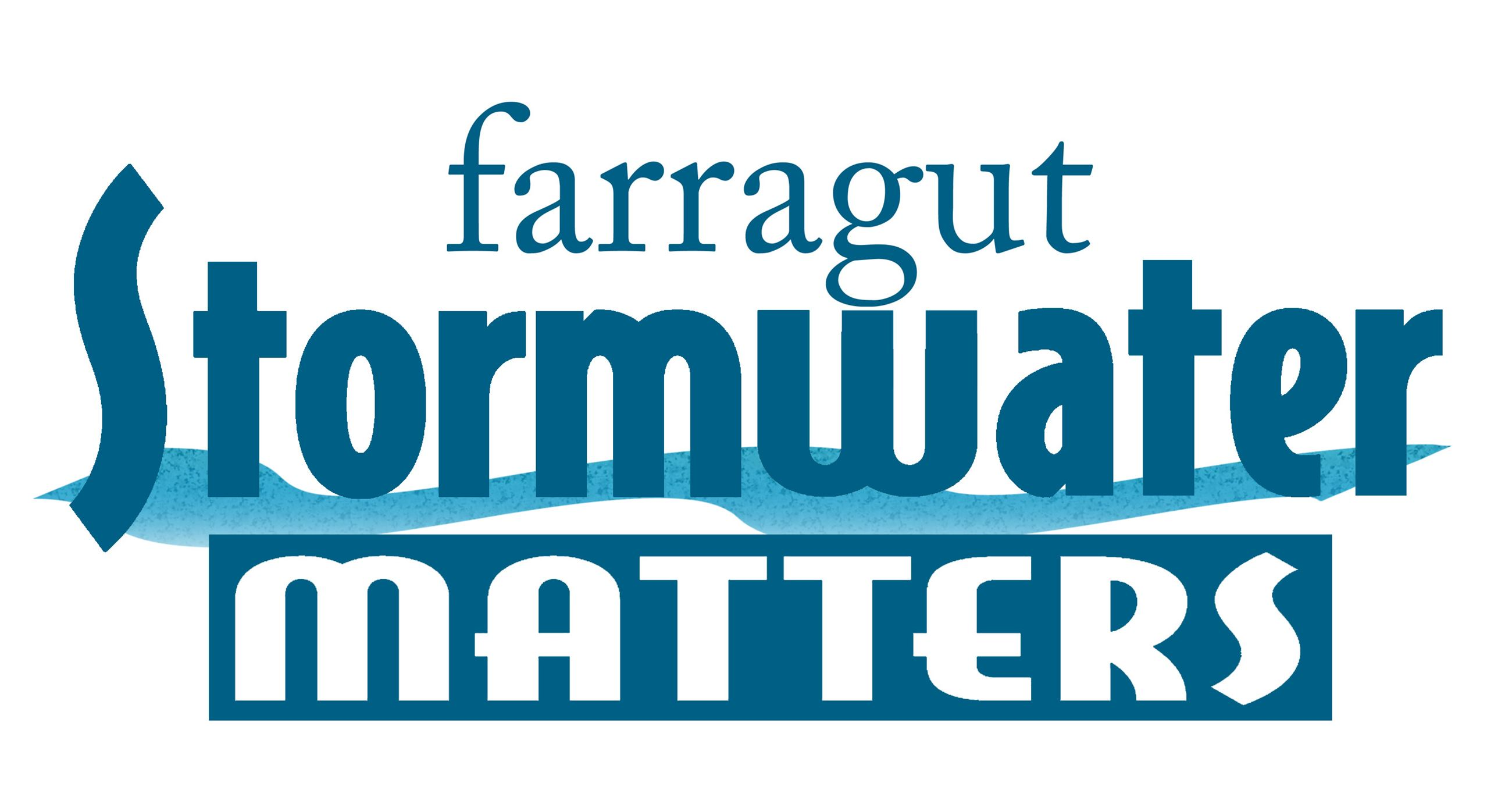farragut stormwater matters logo in blue with a stream through the middle